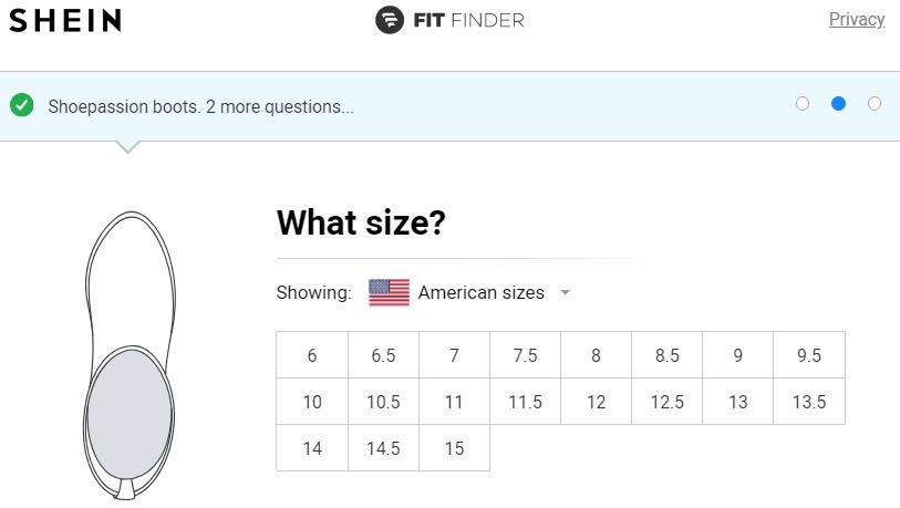ما هي american sizes من الجزم في موقع shein للرجال